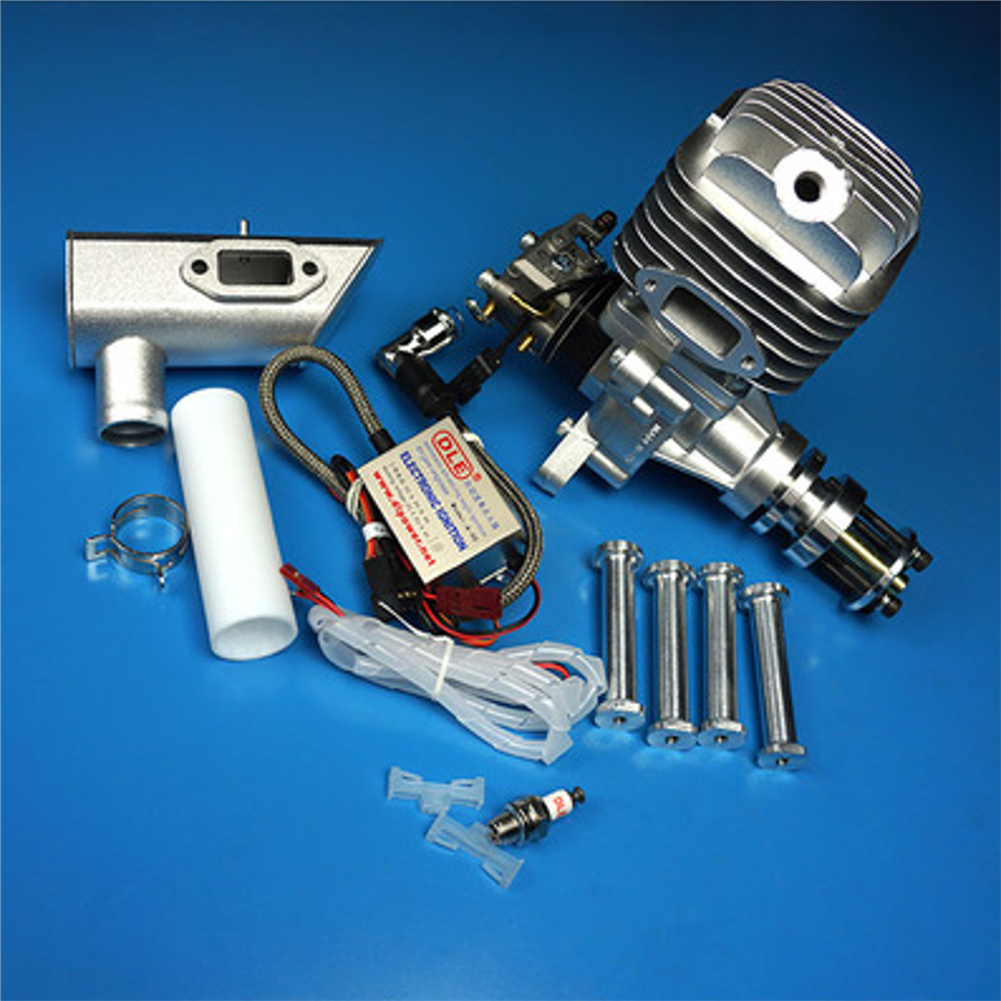 rc-airplane-parts DLE Gasoline Engine DLE55 55CC Single Cylinder 2-Stroke Side Exhaust Air-cooled Hand Start with Ignition and Exhaust Pipe for RC Airplane HOB1799675 2
