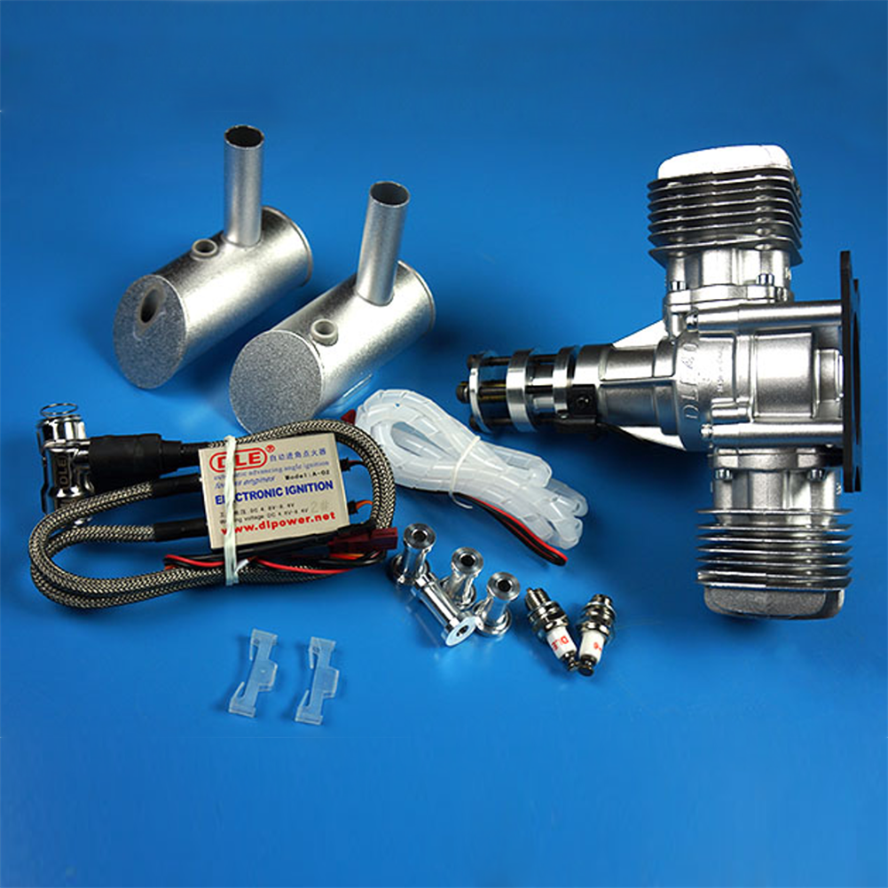rc-airplane-parts DLE Gasoline Engine DLE40 40CC Single Cylinder 2-Stroke Side Exhaust Air-cooled Hand Start with Ignition and Exhaust Pipe for RC Airplane HOB1799678