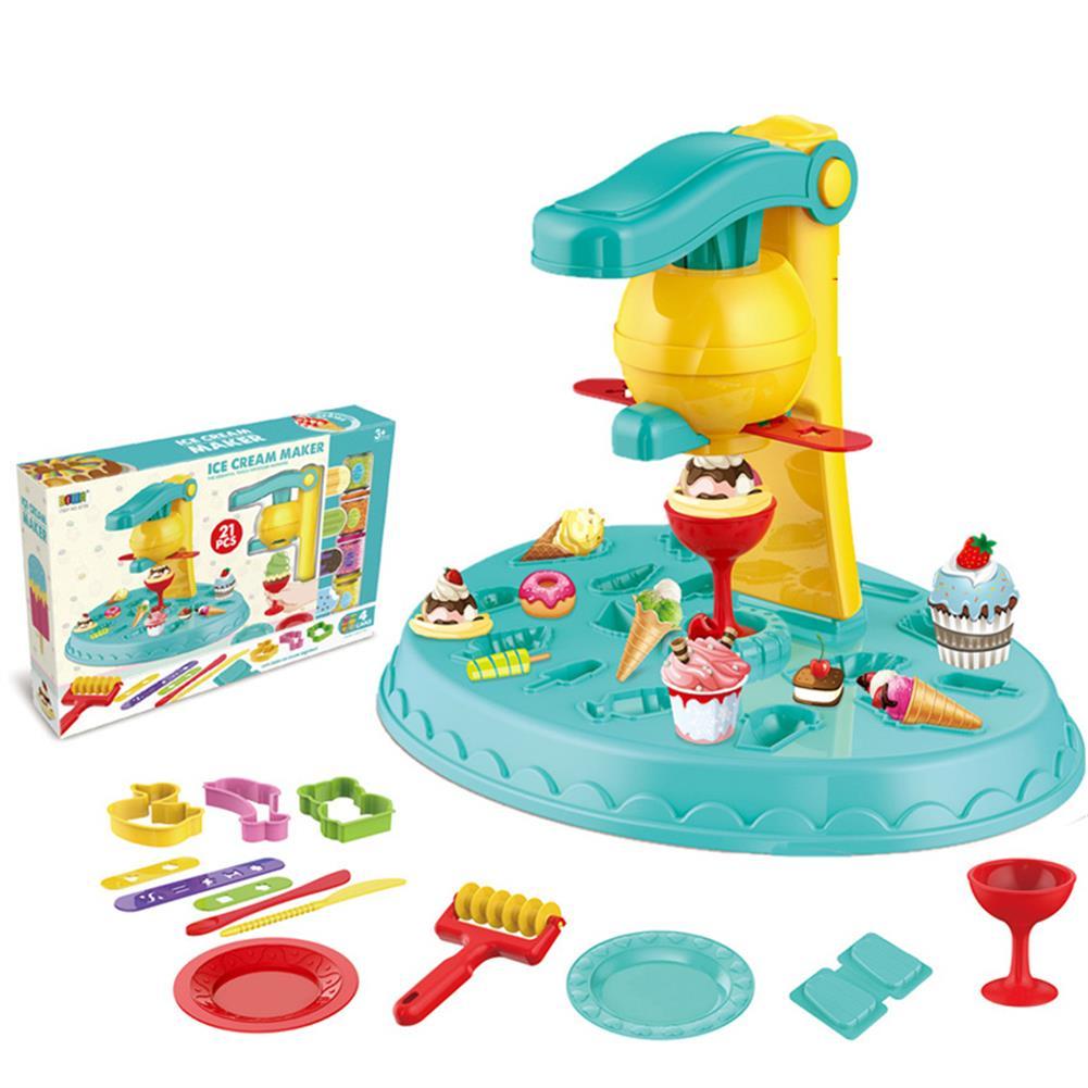 play-mats Children Ice Cream Machine Clay Mold Tool Set Skin Mud Handmade Nontoxic Clay for Kid Toys Gift HOB1799697
