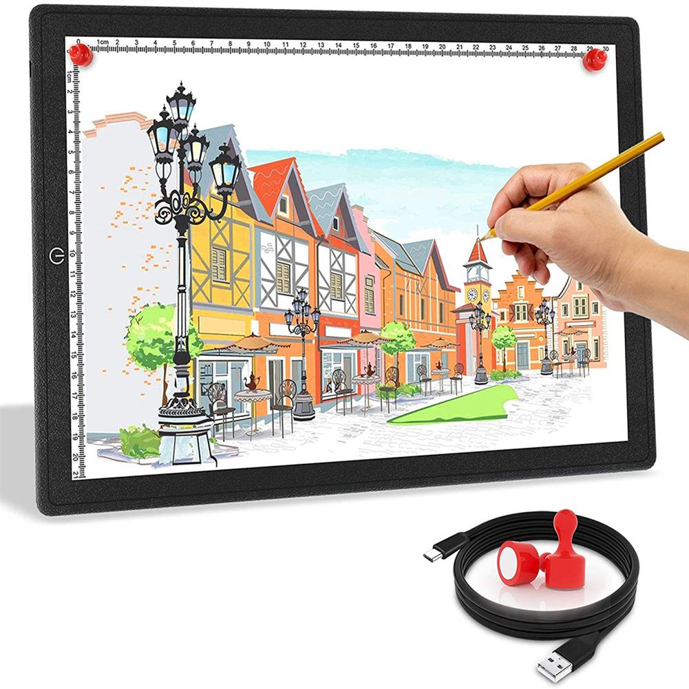 play-mats A3/A4 Touch Dimmable USB LED Light Drawing Copy Pad Tablet with Magnet Ultra-Thin Portable Diamond Painting Board Kit for Students Artists HOB1799772