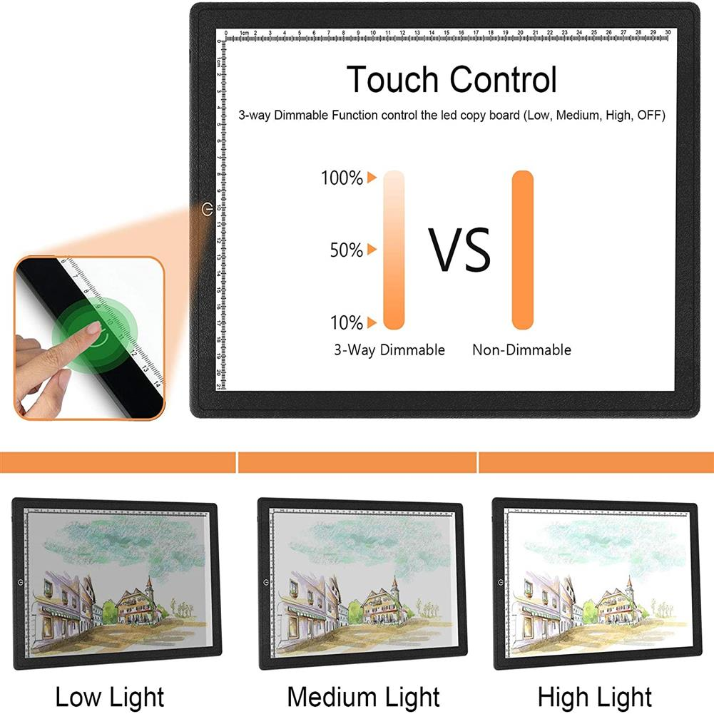play-mats A3/A4 Touch Dimmable USB LED Light Drawing Copy Pad Tablet with Magnet Ultra-Thin Portable Diamond Painting Board Kit for Students Artists HOB1799772 1