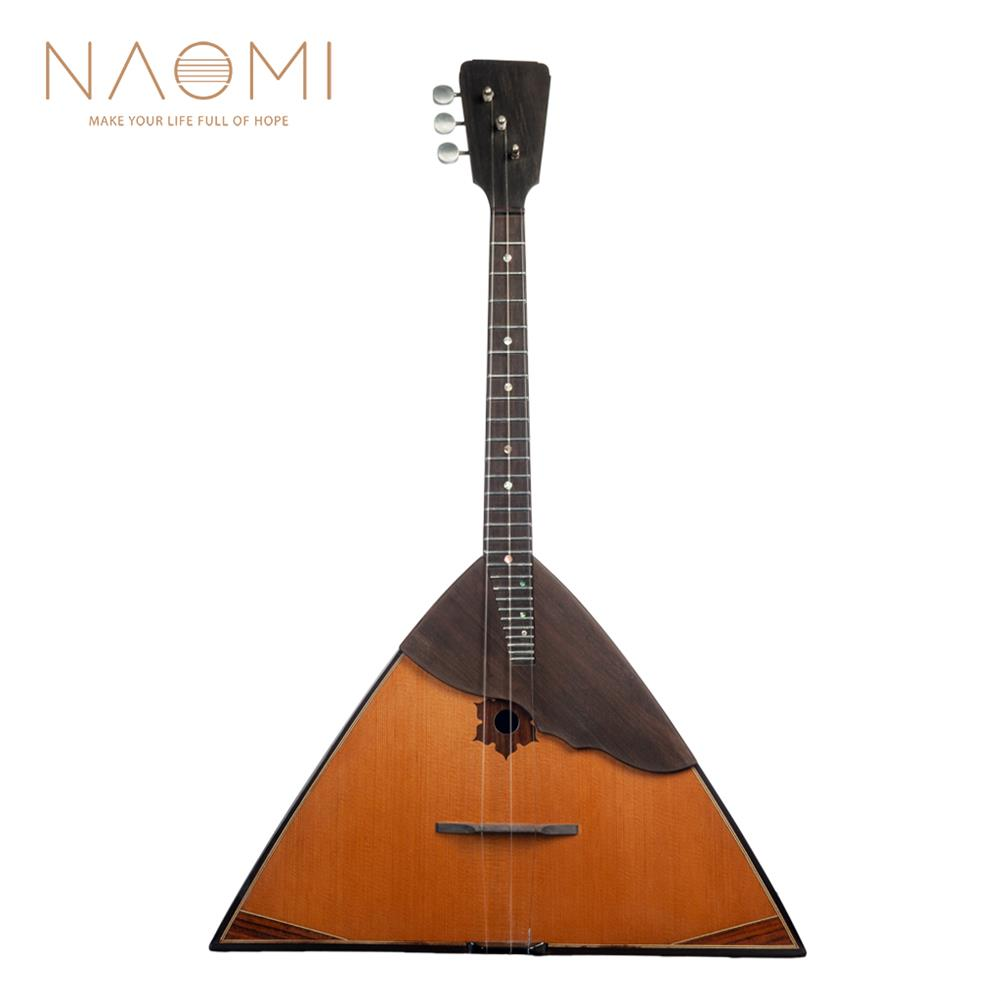 folk-world-strings NAOMI Balalaika Spruce Russian Music instrument Triangular Shape 3 Strings Music instrument Bala Laika HOB1801242