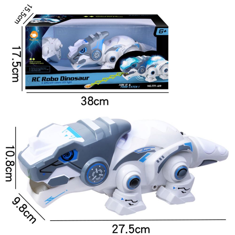 robot-toys 777-619 2.4G Remote Control Robot Dinosaur with Multi Colored LED Lights for Children HOB1803111 3