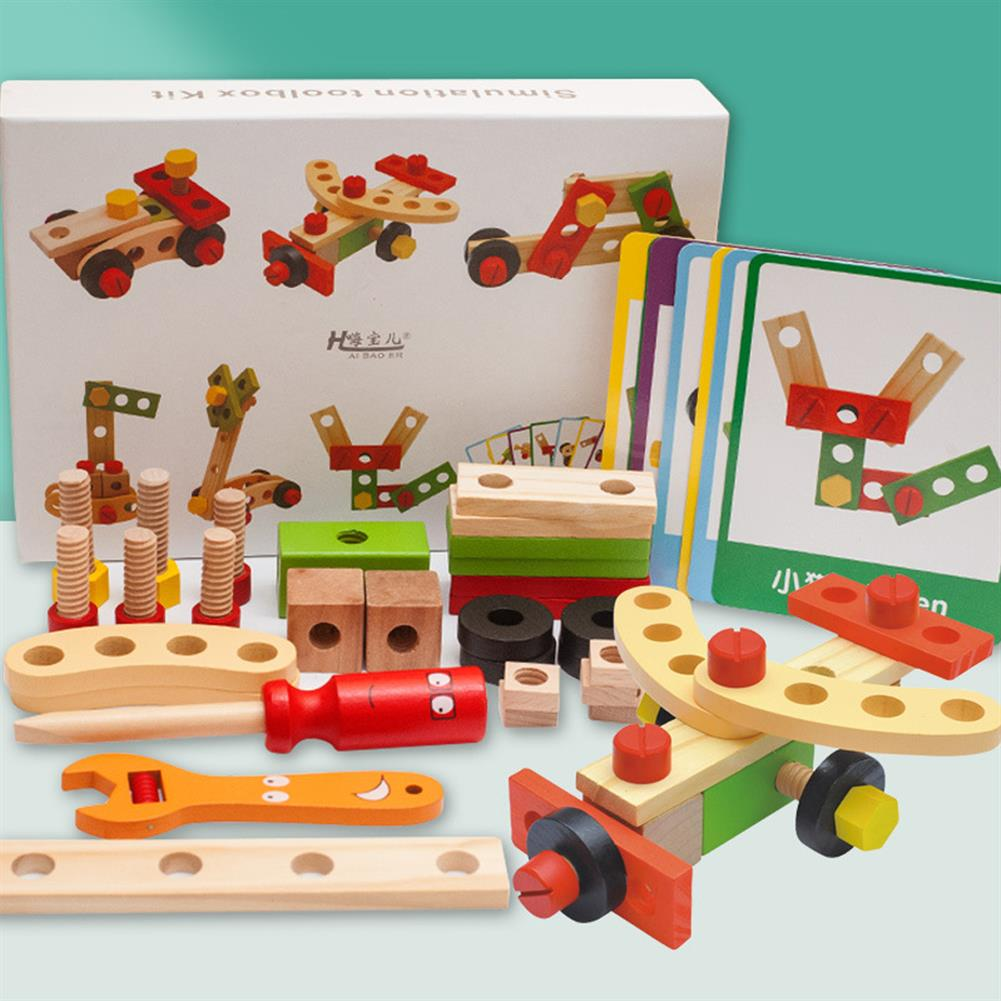 puzzle-game-toys Wooden Simulation DIY Multi-shaped Nut Combo Set Boy Repair Kit Early Childhood Education Puzzle Toy HOB1804046