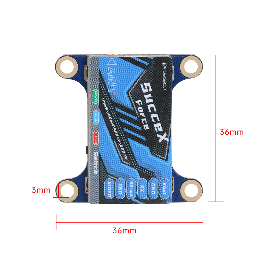 fpv-system iFlight SucceX-force 5.8GHz 48CH PIT/25mW/100mW/400mW/600mW Switchable FPV VTX Video Transmitter Support OSD IRC Tramp for RC Drone HOB1804310 2