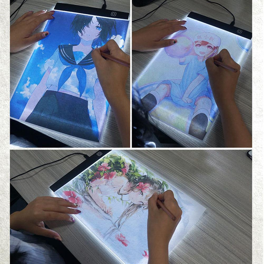 paper-art-drawing A4 LED Drawing Board 1.5m USB Cable Charging Model A4 Copy Table Drawing Board Translucent Calligraphy Table Toys HOB1804538 1