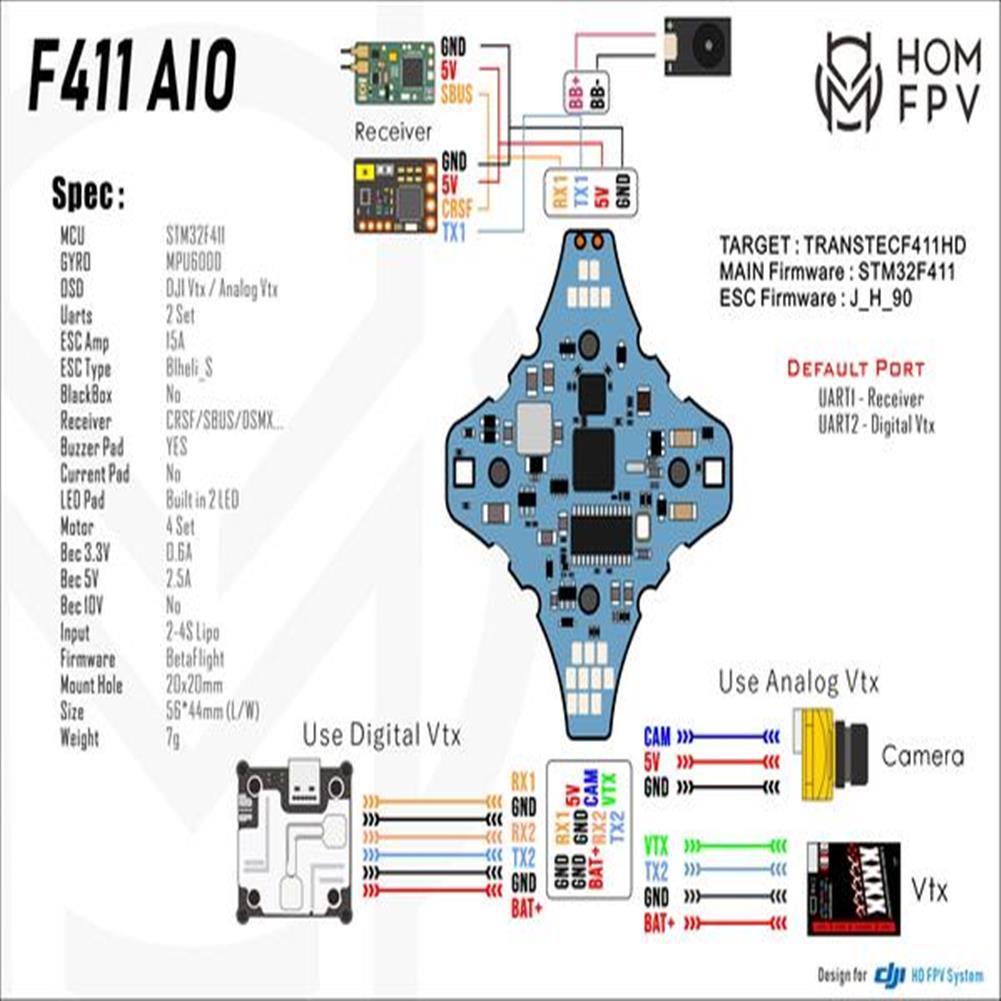 multi-rotor-parts HOMFPV AIO F411 F4 20A 3-4S Blheli_S Flight Controller FC Brushless ESC Built-in RGB LED HOB1806139 3