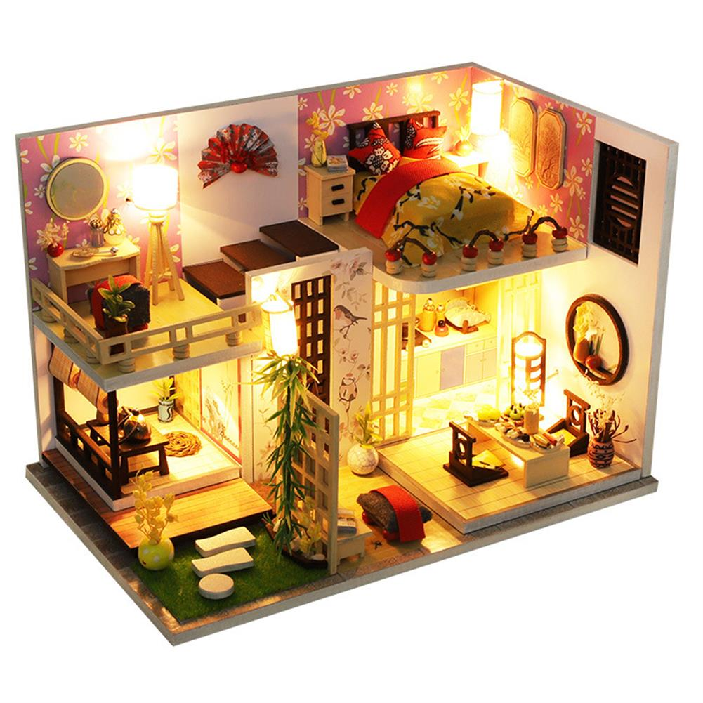 doll-house-miniature Wooden Japan Style Bamboo Maple House DIY Handmade Assembly Doll House Miniature Furniture Kit with LED Light Toy for Kids Birthday Gift Home Decoration HOB1807368