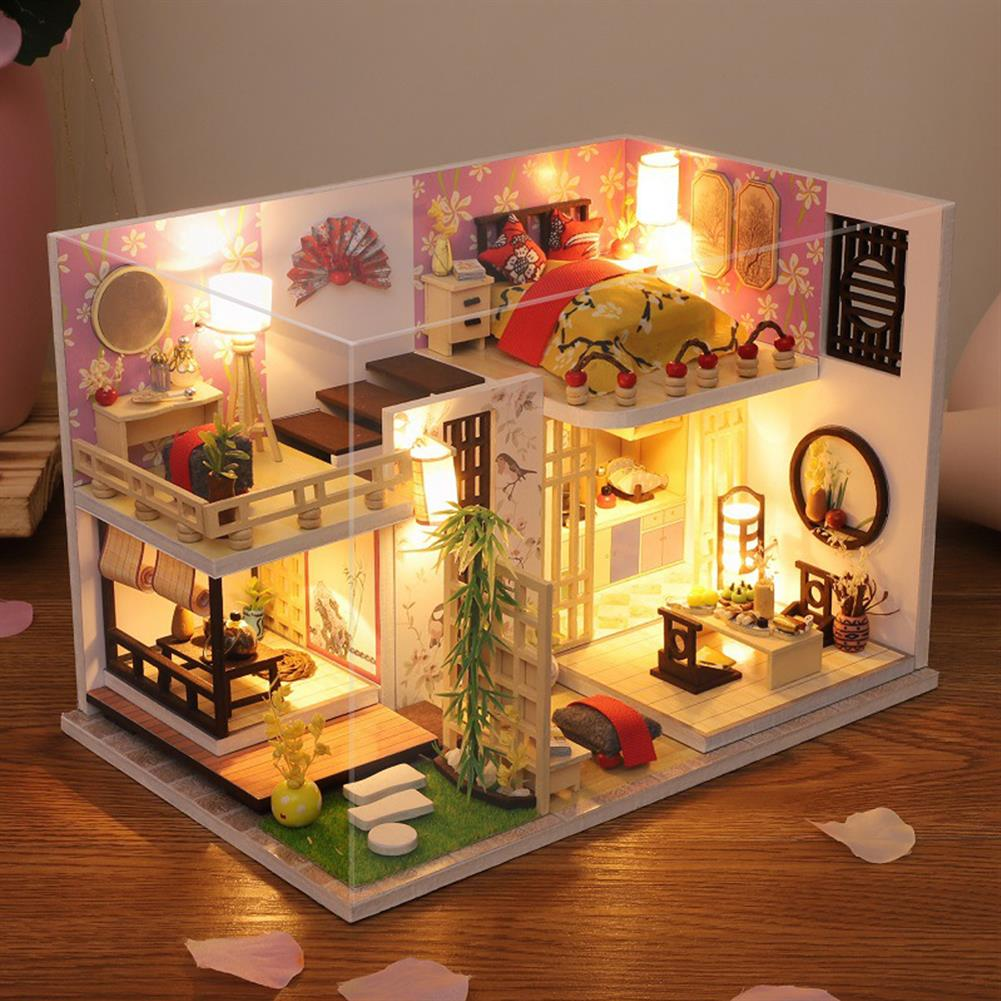 doll-house-miniature Wooden Japan Style Bamboo Maple House DIY Handmade Assembly Doll House Miniature Furniture Kit with LED Light Toy for Kids Birthday Gift Home Decoration HOB1807368 1