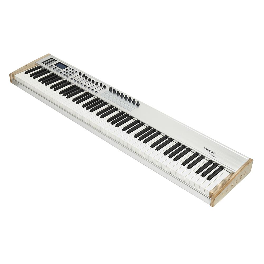 midi-controllers WORLDE P-88 Pro 88-Key USB MIDI Keyboard Controller with 88 Semi-weighted Keys 16 RGB Backlit Trigger Pads 8 Assignable Sliders HOB1811060 1