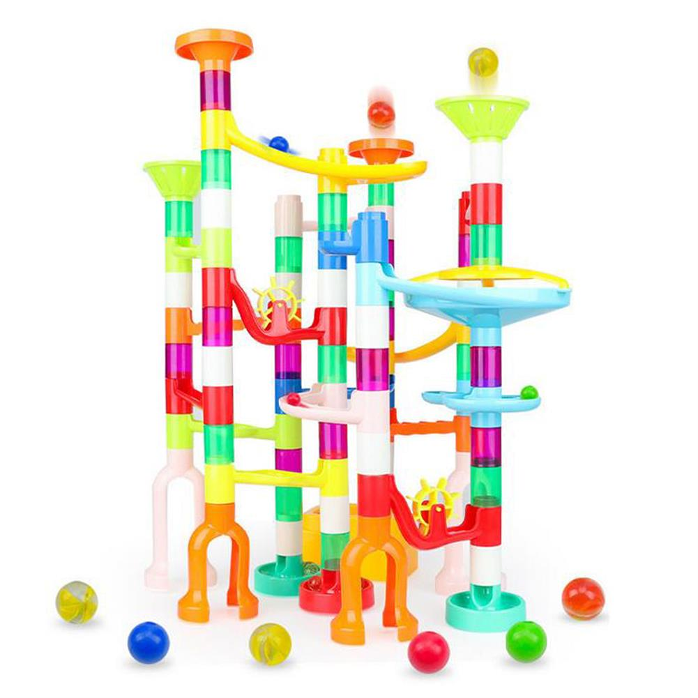 blocks-track-toys 105 Pcs Colorful Transparent Plastic Creative Marble Run Coasters DIY Assembly Track Blocks Toy for Kids Birthday Gift HOB1811469