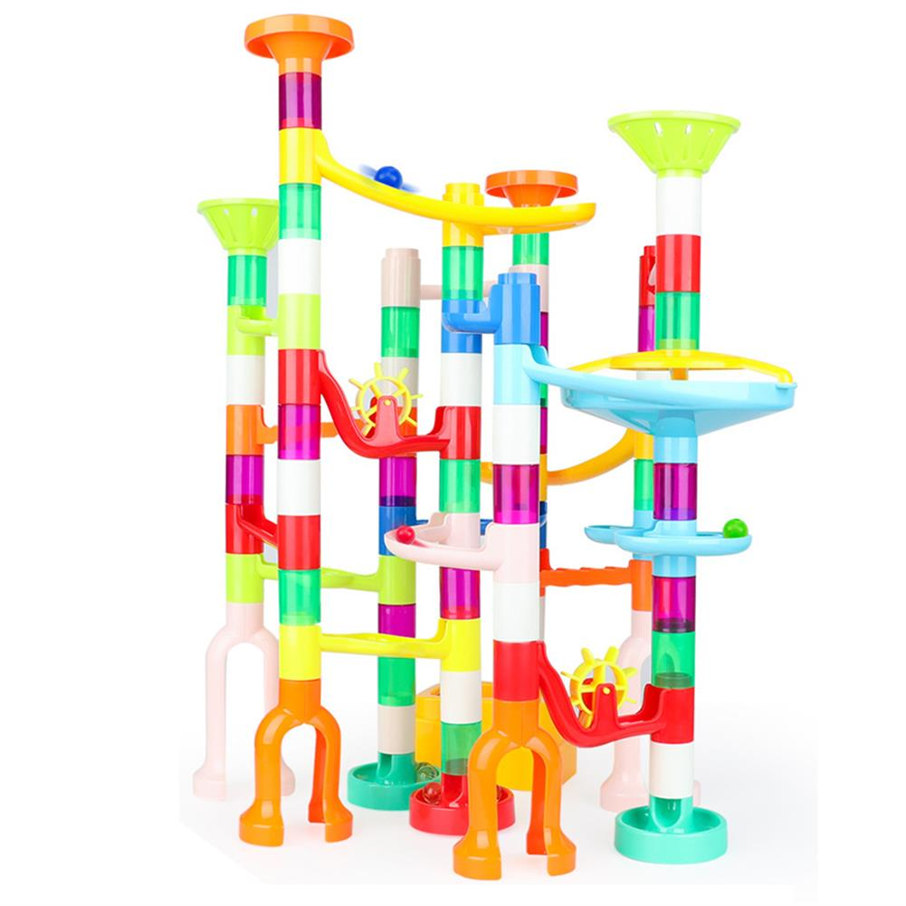 blocks-track-toys 105 Pcs Colorful Transparent Plastic Creative Marble Run Coasters DIY Assembly Track Blocks Toy for Kids Birthday Gift HOB1811469 1