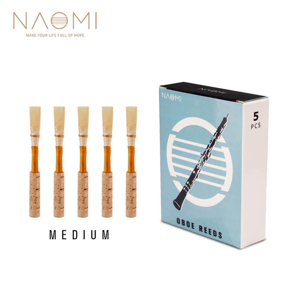 woodwind-brass-accessories NAOMI 5Pcs/1Pack NO-01 Oboe Reed Medium Cork Reed Handmade Oboe Reed with Plastic Case/Tube for Beginners Oboe Accessories HOB1812331