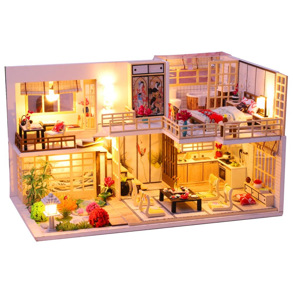 doll-house-miniature Wooden Crafts DIY Handmade Assembly 3D Doll House Miniature Furniture Kit with LED Light Toy for Kids Birthday Gift Home Decoration HOB1812991