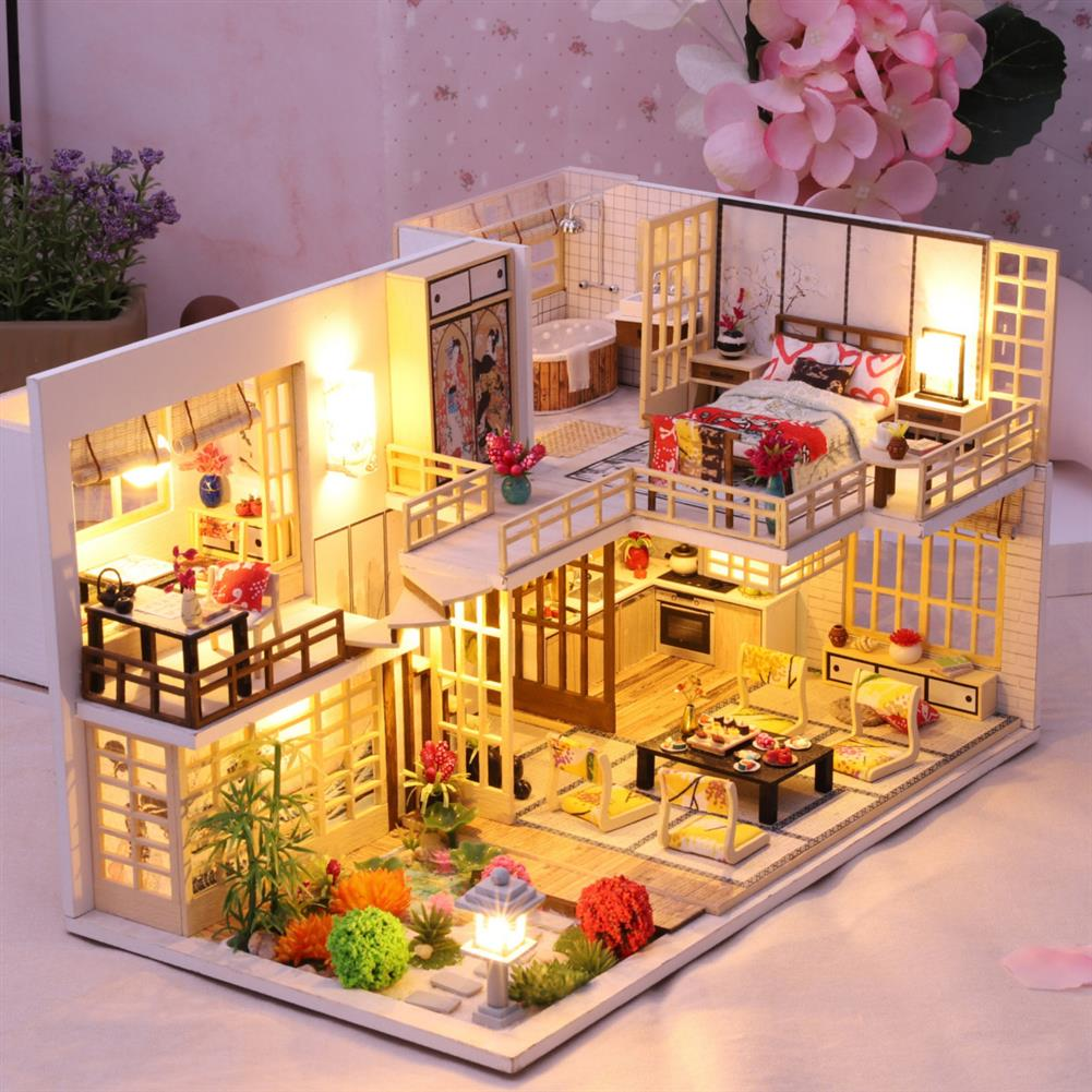 doll-house-miniature Wooden Crafts DIY Handmade Assembly 3D Doll House Miniature Furniture Kit with LED Light Toy for Kids Birthday Gift Home Decoration HOB1812991 1