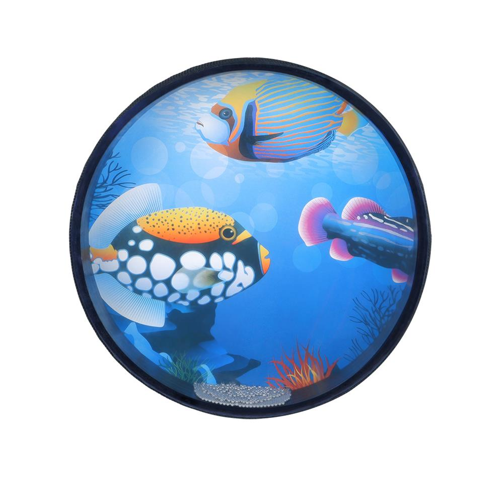 folk-world-percussion 10-inch Drum Wave Bead Drum Gentle Sea Sound Musical Educational Tool for Baby Toddlers HOB1817044