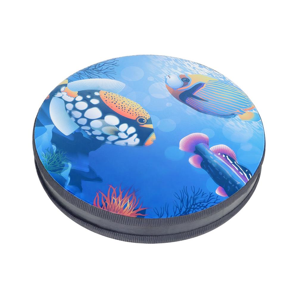 folk-world-percussion 10-inch Drum Wave Bead Drum Gentle Sea Sound Musical Educational Tool for Baby Toddlers HOB1817044 1