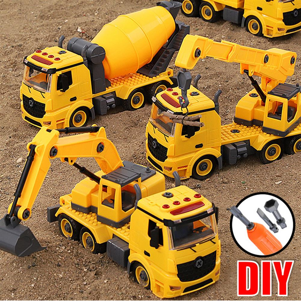 diecasts-model-toys Simulation DIY Nut Disassembly Loading Unloading Assembly Engineering Truck Excavator Bulldozer Car Model Toy with LED Light & Music Effect for Kis Gift HOB1817557 1