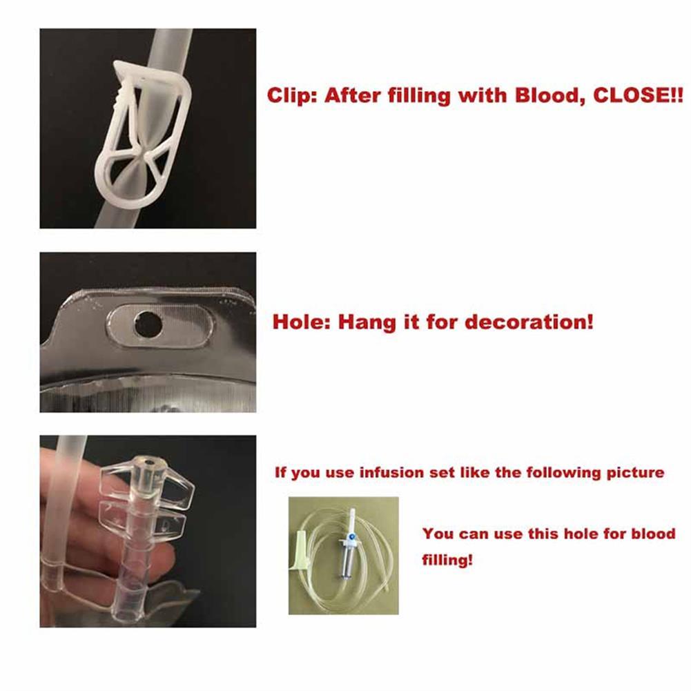 decoration 350ML Vampire Transparent Blood Bag PVC Reusable Blood Juice Energy Drink for Halloween Decorations HOB1818661 3