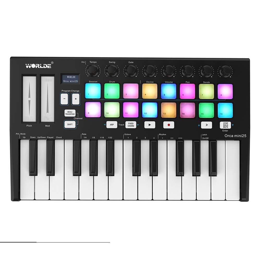 midi-controllers WORLDE Orca Mini25 Portable 25-Key USB MIDI Keyboard Controller HOB1821535