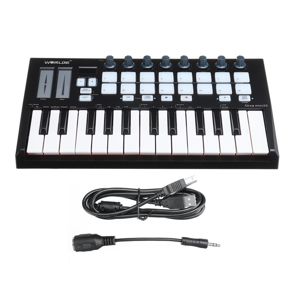 midi-controllers WORLDE Orca Mini25 Portable 25-Key USB MIDI Keyboard Controller HOB1821535 1