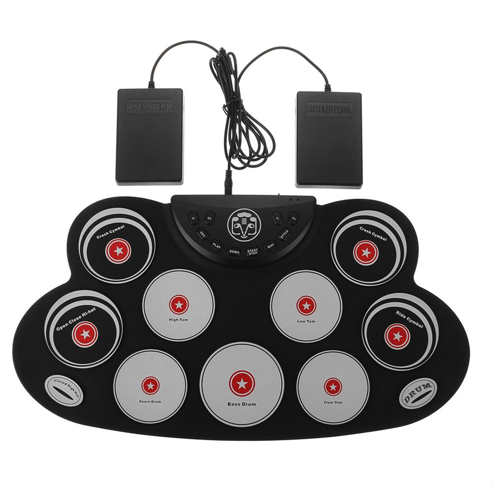 electronic-drums Portable Electronics Drum Set Roll Up Drum Kit 9 Silicone Pads USB Powered with Foot Pedals Drumsticks USB Cable HOB1822933