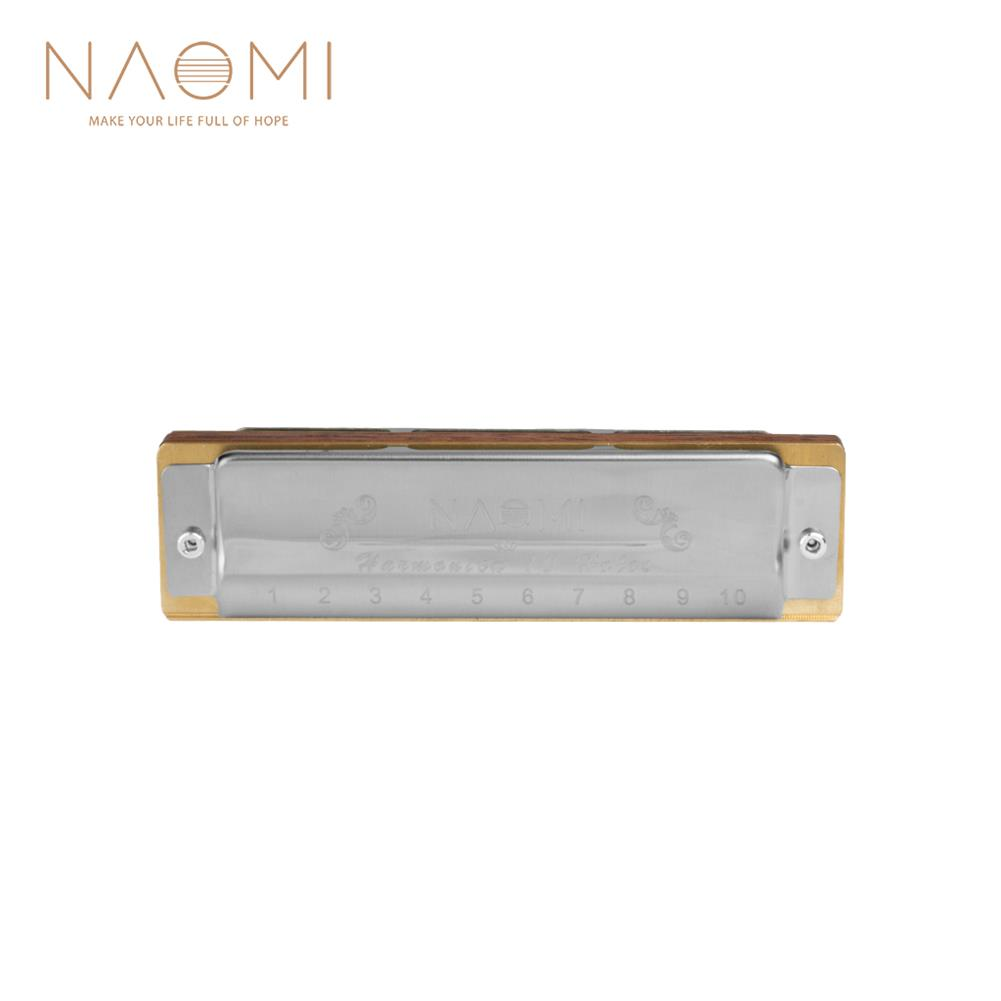 harmonica NAOMI 10 Holes Blues Harmonica Rosewood Comb Brass Reed Diatonic Harmonica in Key of C for Professional Player HOB1822959