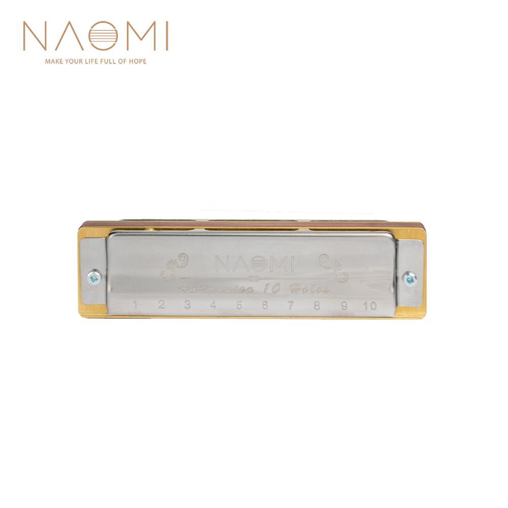 harmonica NAOMI Blues Harmonica Mouth Organ 10 Hole C Key Brass Reeds Diatonic Sandalwood Harmonica Solo Performance HOB1823993