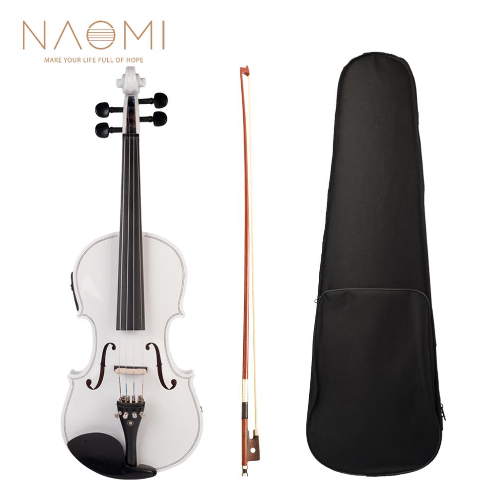 violin NAOMI Acoustic Violin Set with EQ installation Solidwood 4/4 Fiddle w/ Brazilwood Bow+Audio Cable+Rosin+Violin Case HOB1823997