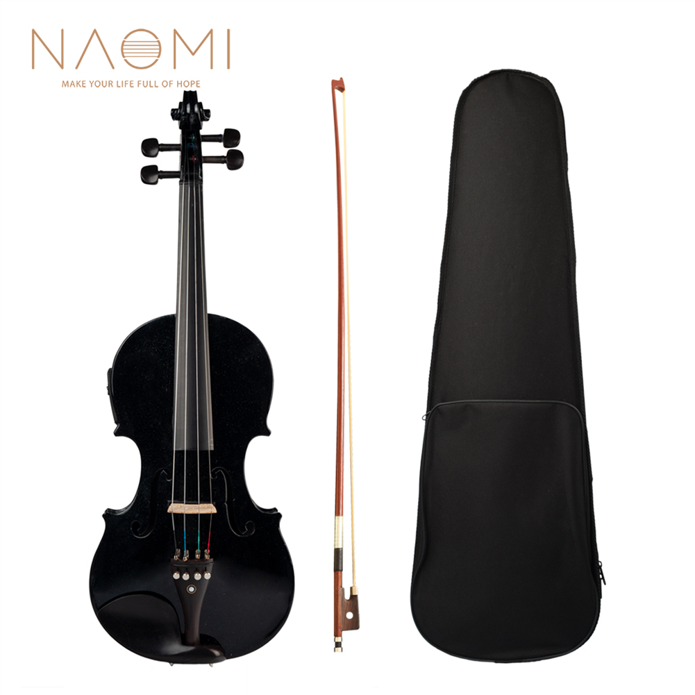 violin NAOMI Acoustic Violin Set with EQ installation Solidwood 4/4 Fiddle w/ Brazilwood Bow+Audio Cable+Rosin+Violin Case HOB1823997 1