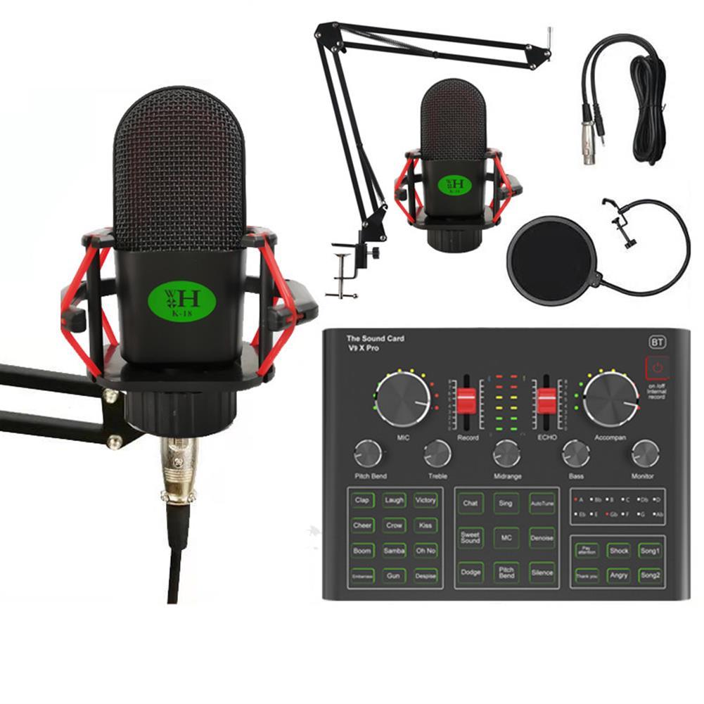 microphones-karaoke-equipment K18 Condenser Microphone Kit with V9X PRO Sound Card Mic Kit DSP Noise Reduction Karaoke Studio Live Set HOB1825897