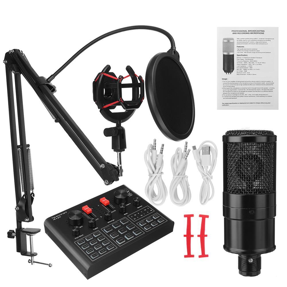 microphones-karaoke-equipment K16 Condenser Microphone Kit with V9X PRO Sound Card Mic Kit DSP Noise Reduction Karaoke Studio Live Set HOB1825926