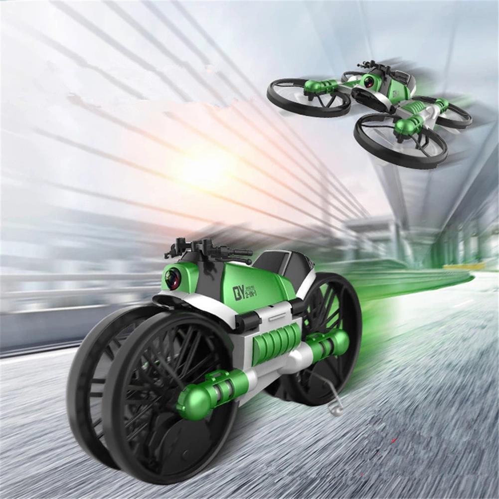 rc-motorcycle-rc-vehicles Qun Yi Toys H6 2.4G 2 in 1 WIFI FPV RC Deformation Motorcycle Quadcopter Car RTR Model HOB1826598
