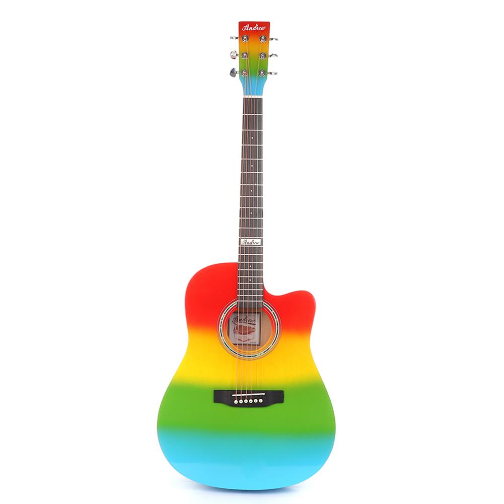 acoustic-guitars Andrew 41 inch Mahogany Laser Engraving Sound Hole Rainbow Color Acoustic Guitar for Guitar Player HOB1827889