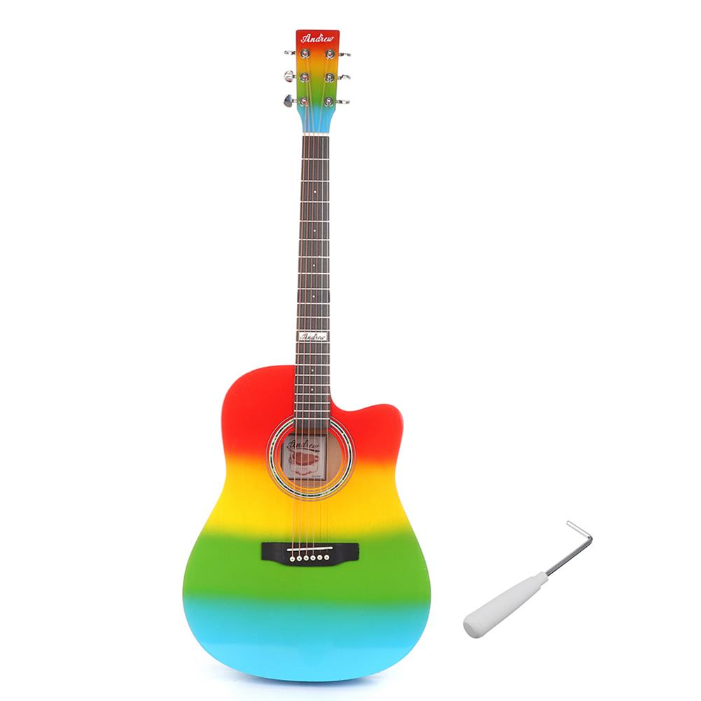acoustic-guitars Andrew 41 inch Mahogany Laser Engraving Sound Hole Rainbow Color Acoustic Guitar for Guitar Player HOB1827889 1