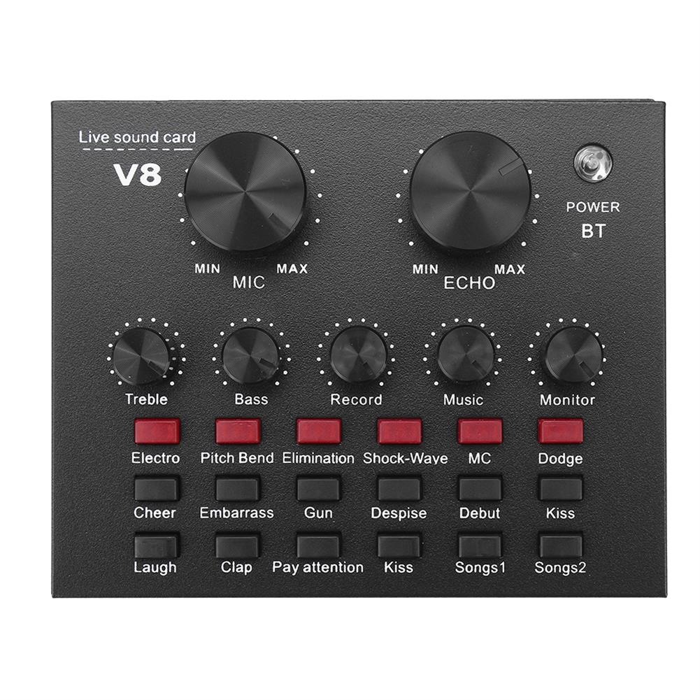 dj-mixers-equipment External Audio Mixer V8 Sound Card USB interface with 6 Sound Modes Multiple Sound Effects HOB1827908