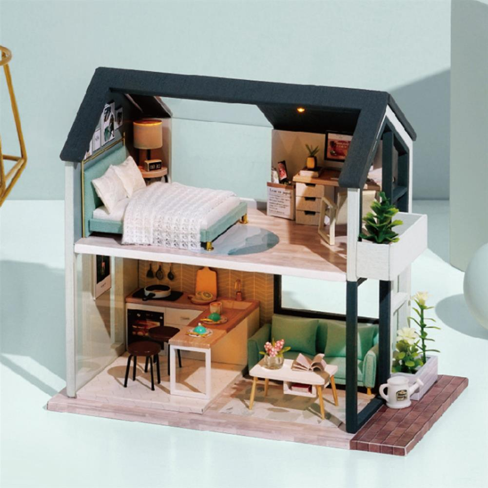 doll-house-miniature Wisdom Wooden Nordic Style Creative Fun Cute DIY Handmade Assemble Fun Doll House Toy for Gift Collection Home Decor HOB1828110