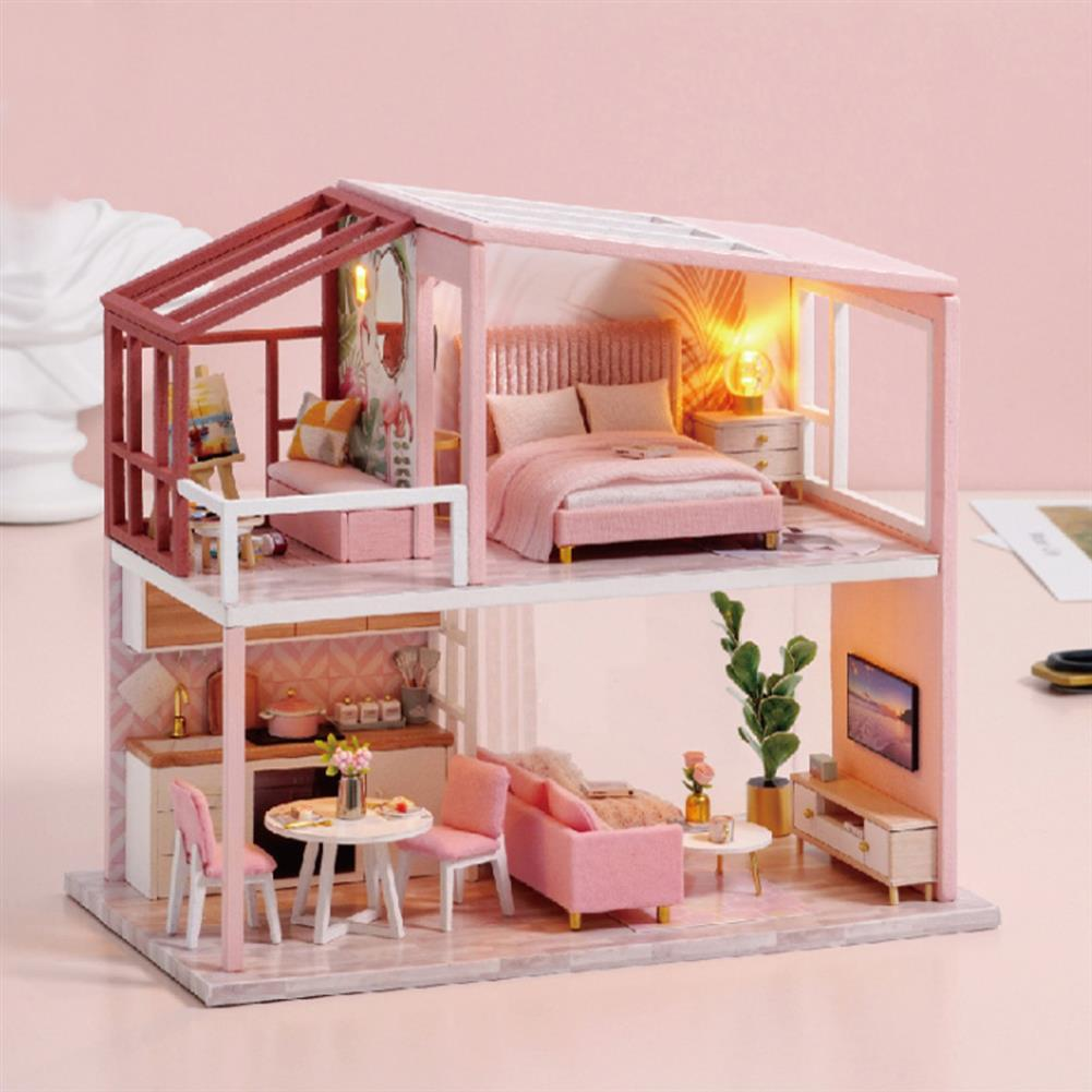 doll-house-miniature Wisdom Wooden Nordic Style Creative Fun Cute DIY Handmade Assemble Fun Doll House Toy for Gift Collection Home Decor HOB1828110 1
