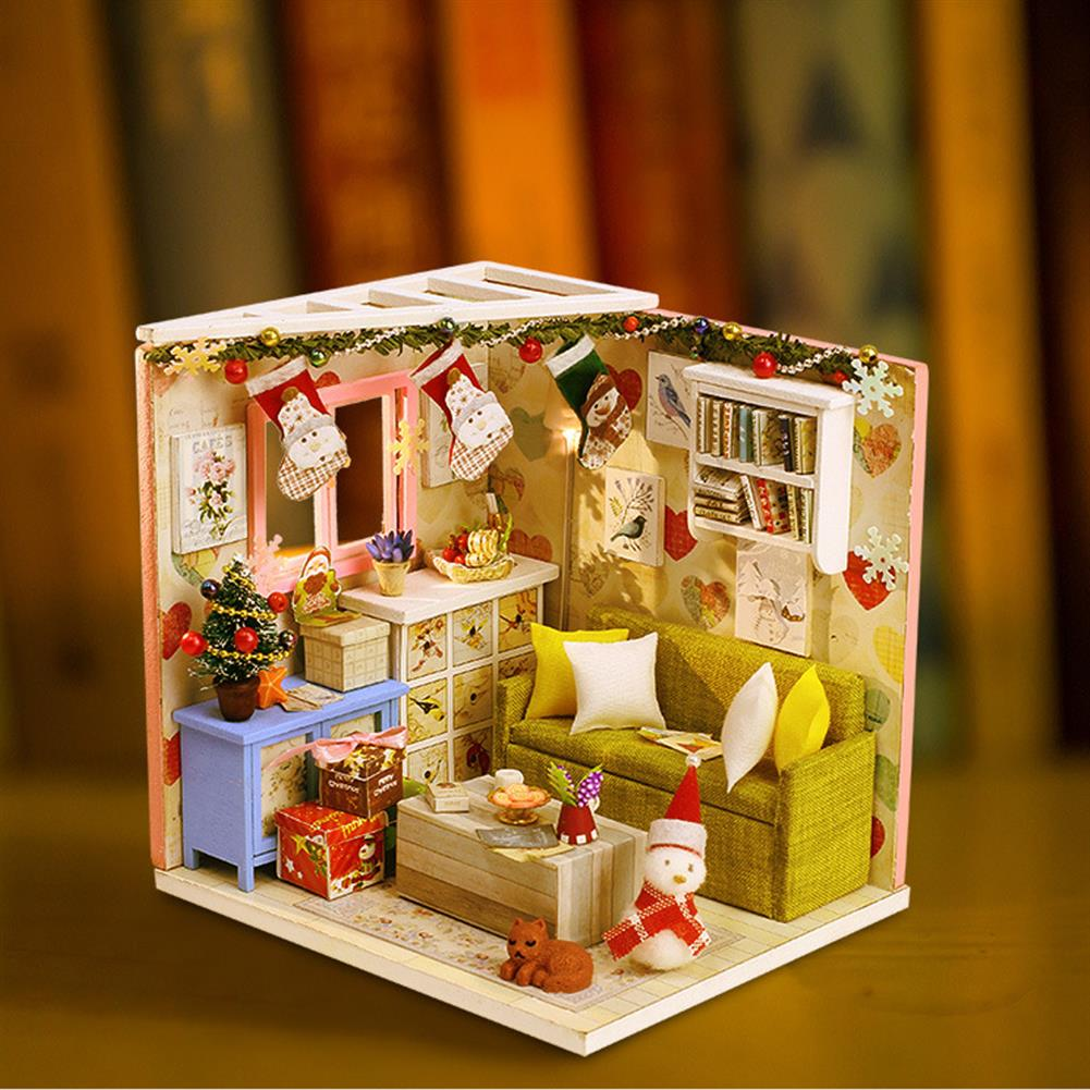 doll-house-miniature Iiecreate DIY Doll House House Handmade Assembled Educational Toy Art House Christmas Gift Creative Birthday Gift with Dust Cover And Furniture HOB1830391