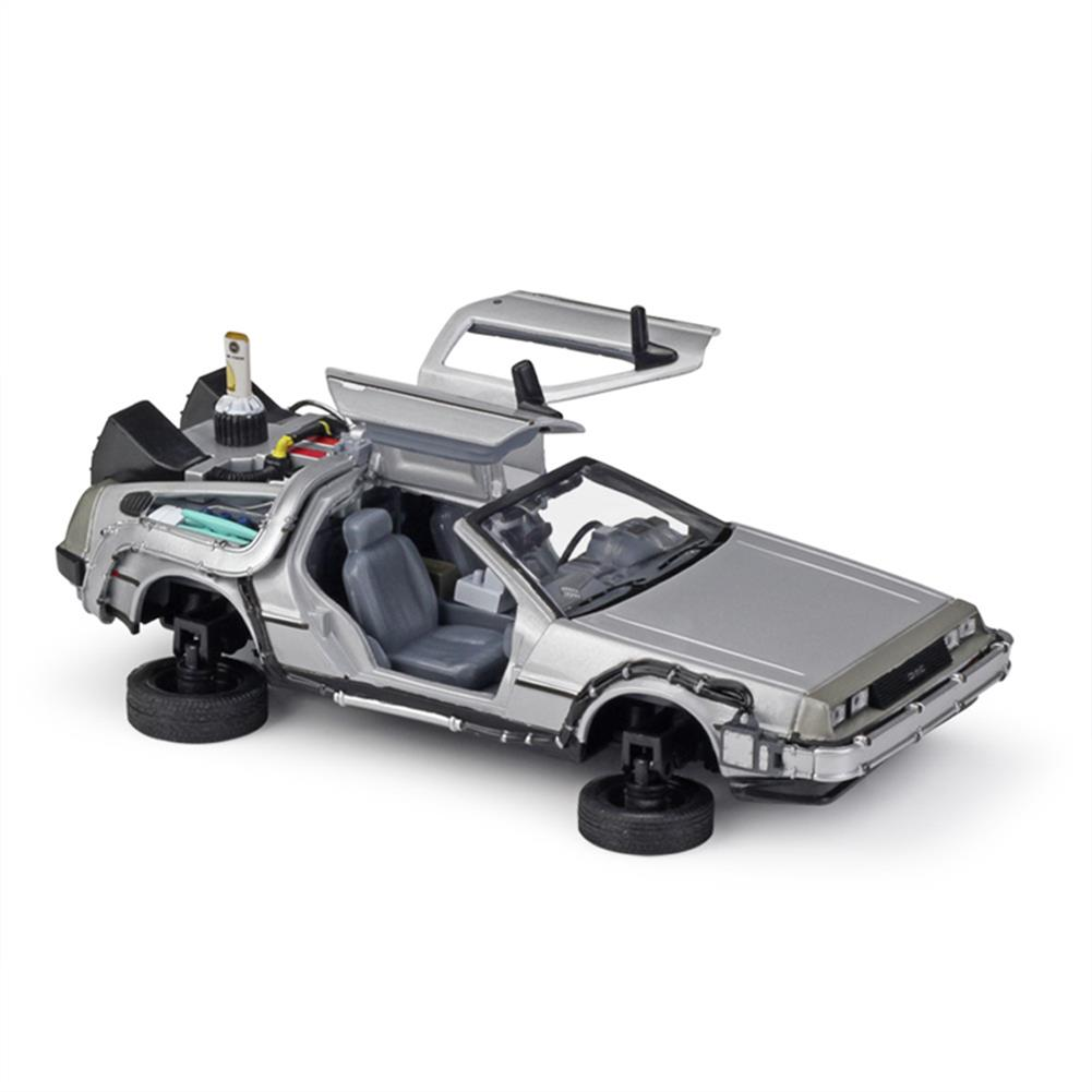 diecasts-model-toys Welly 1:24 Diecast Alloy Model Car Door Openable DMC-12 Delorean Back to the Future Time Machines Metal Toy Car for Kid Gift Collection HOB1834523
