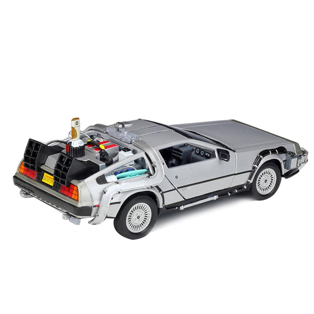 diecasts-model-toys Welly 1:24 Diecast Alloy Model Car Door Openable DMC-12 Delorean Back to the Future Time Machines Metal Toy Car for Kid Gift Collection HOB1834523 1