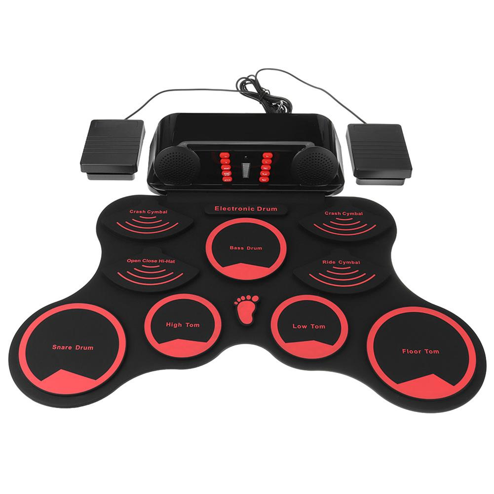 electronic-drums Portable Roll Up Electronic Drum Kit 9 Silicon Pads Built-in Speakers with Drumsticks Sustain Pedal Support USB MIDI HOB1835446