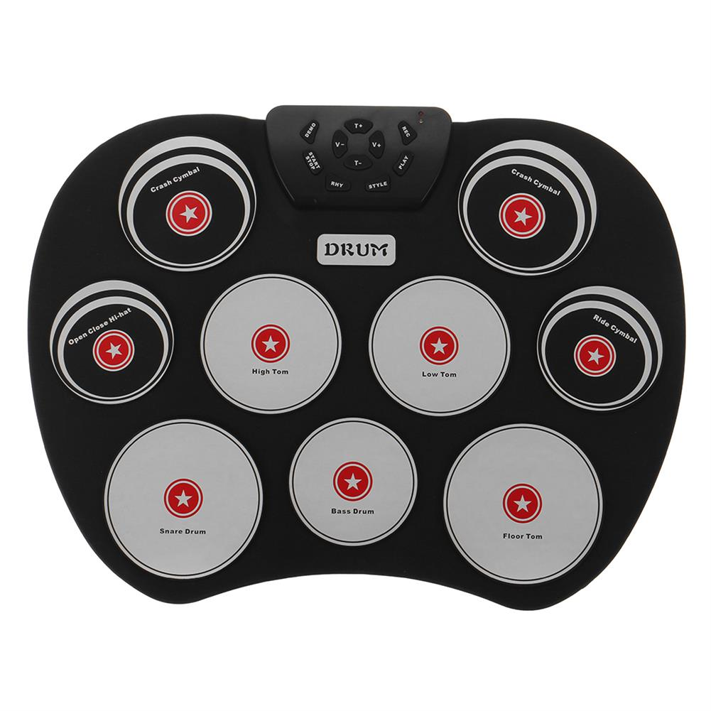 electronic-drums Portable Electronics Drum Set Roll Up Drum Kit 9 Silicone Pads USB Powered with Foot Pedals Drumsticks USB Cable HOB1835496