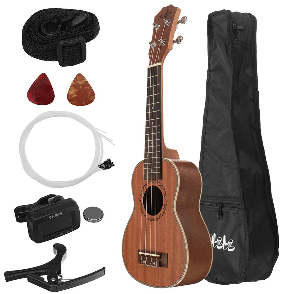 ukulele 21 inch 4 Strings Sapele Ukulele w/Gig Bag,Tuner,Capo,Nylon Strings,Picks,Strap for Beginners,Adults HOB1837187