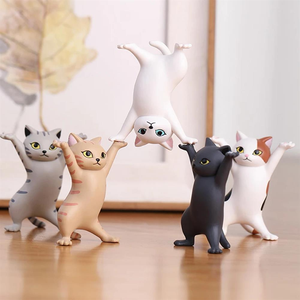dolls-action-figure 1 PC Cartoon Dancing Cat Figure Doll Figurines Handmade Enchanting Kittens Toy for office Pen Holder AirPods Desktop Display Decoration Collection Gift HOB1838450