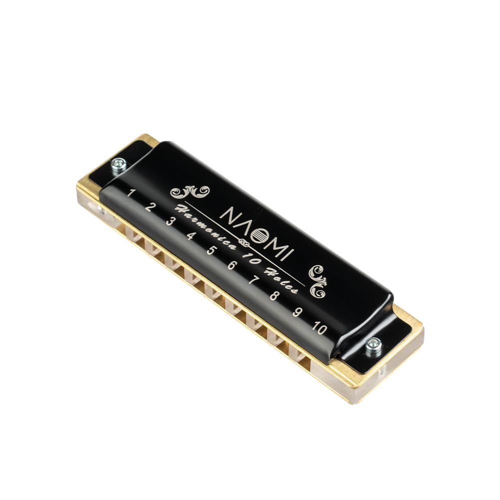 harmonica NAOMI 10 Hole Professional Blues Harmonica Acrylic Comb Brass Reeds C Key with Black Case HOB1838520 1
