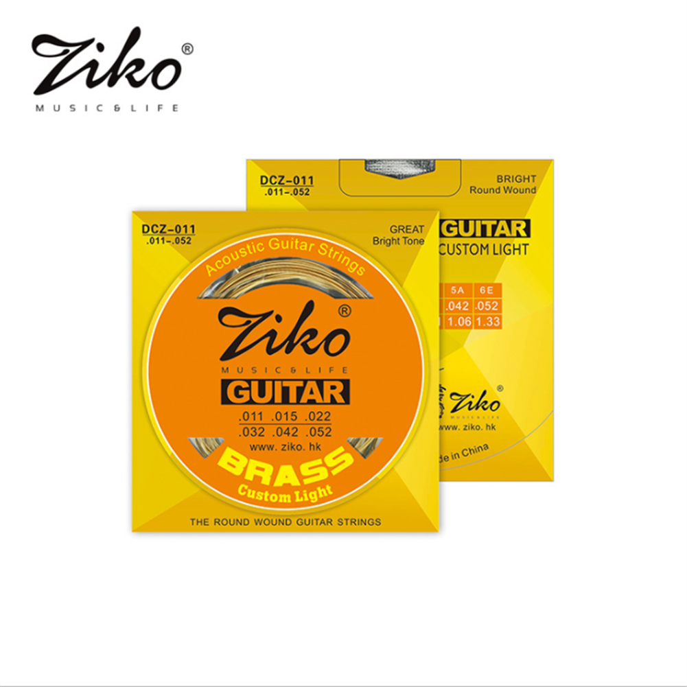 guitar-accessories ZIKO DCZ 010 011 012 Acoustic Guitar Strings Brass Carbon Steel Hexagonal Alloy Strings for Acoustic Guitar Accessories Parts HOB1838791