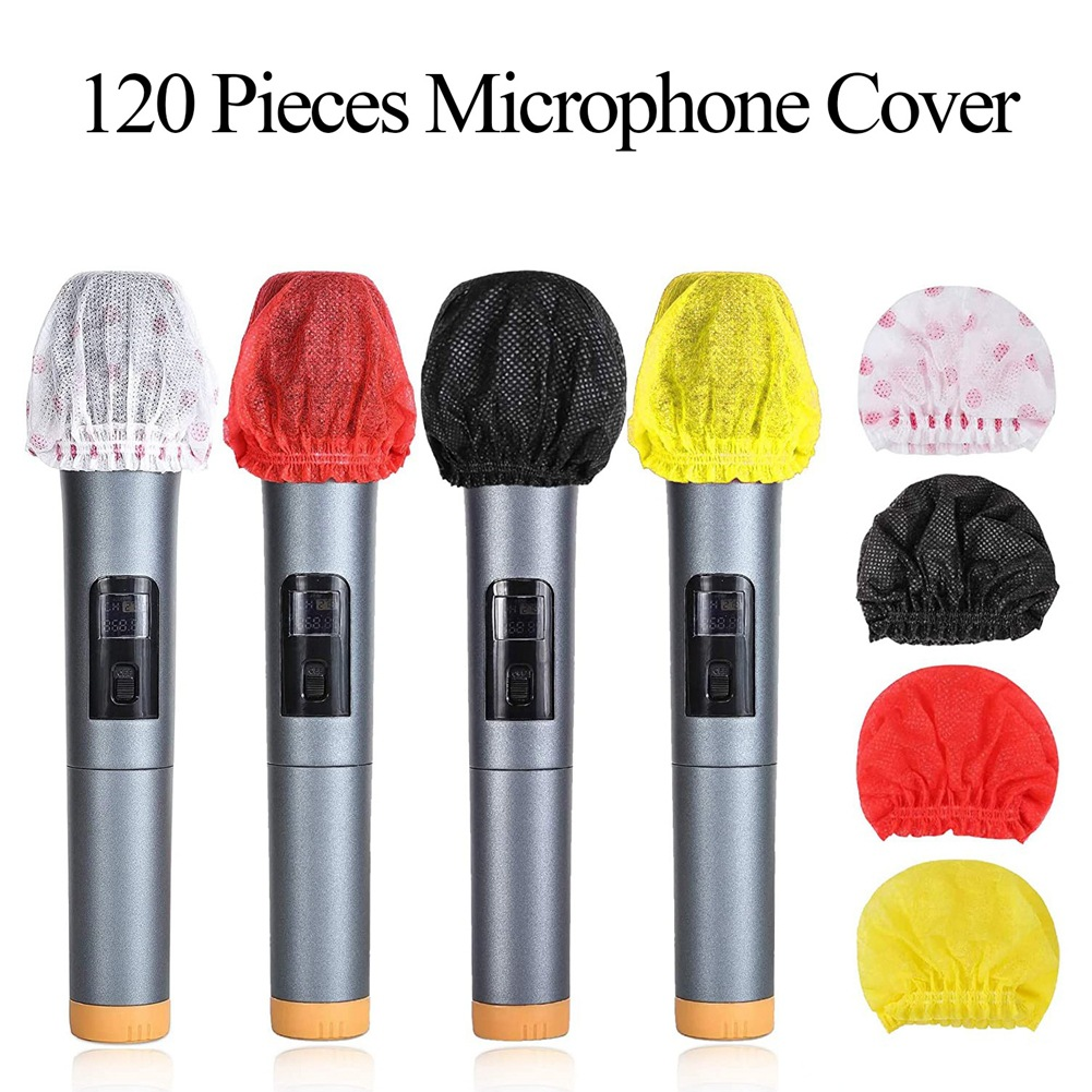 general-accessories 120 Pcs Microphone Cover Odor Removal Disposable Mike Cover Non-Woven Cloth Shield Micraphone Cover Socks Mics HOB1839734