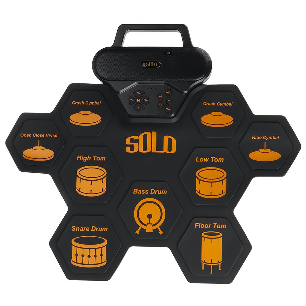 electronic-drums SOLO SD-50 Portable Electronic Drum Pad Digital Drum set Silicone Roll-Up Drum Practice Kit with 9 Labeled Pads 2 Foot Pedals HOB1840386