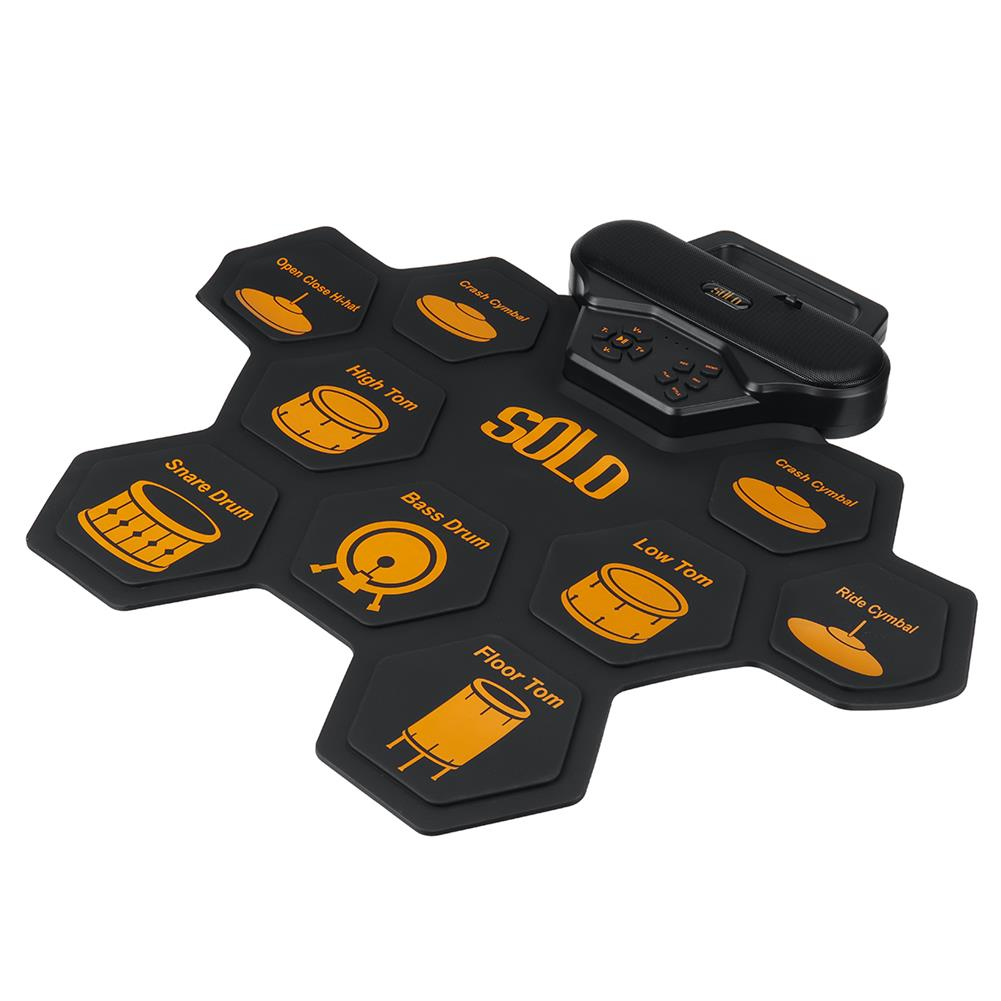 electronic-drums SOLO SD-50 Portable Electronic Drum Pad Digital Drum set Silicone Roll-Up Drum Practice Kit with 9 Labeled Pads 2 Foot Pedals HOB1840386 1